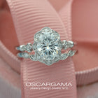 Oval Halo engagement ring Vintage inspired with band