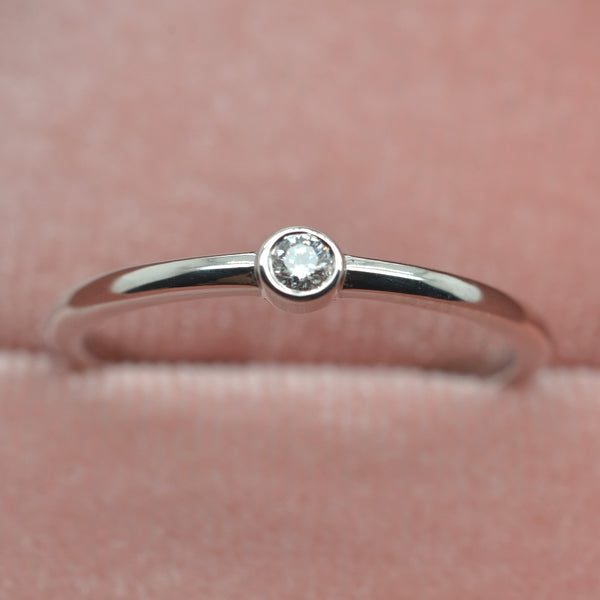 Diamond Bezel pinky ring with 2.2mm Lab Grown Diamond in 14kt Gold Individual or Set