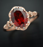 Daisy Oval Red Garnet