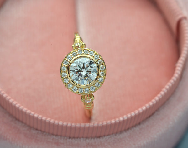 Jessica Round Bezel Old Miner cut Halo Engagement Ring Vintage Look