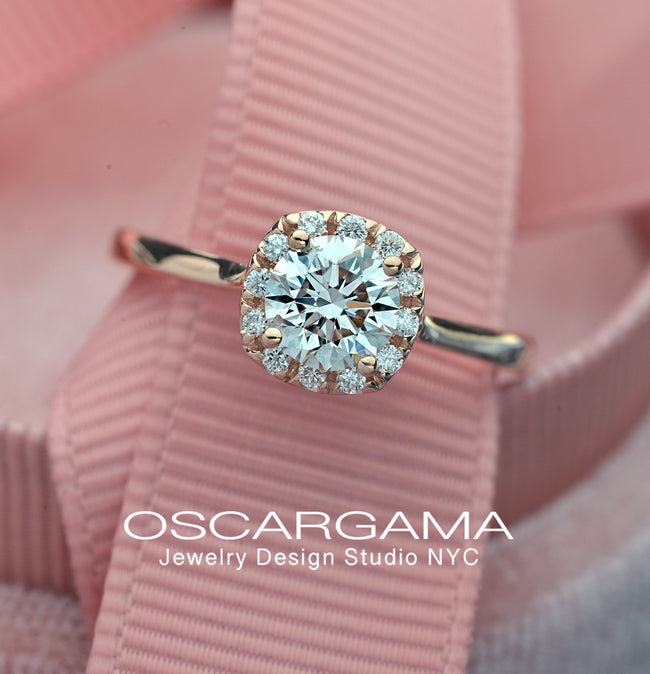 Classic Cushion Halo Solitaire Engagement Ring with Lab Grown Diamonds