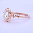 Daisy Oval Halo engagement ring vintage Inspired