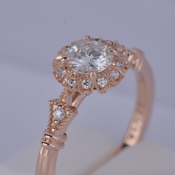 Haydee Sunny Round Halo Engagement Ring Vintage Inspired in rose gold