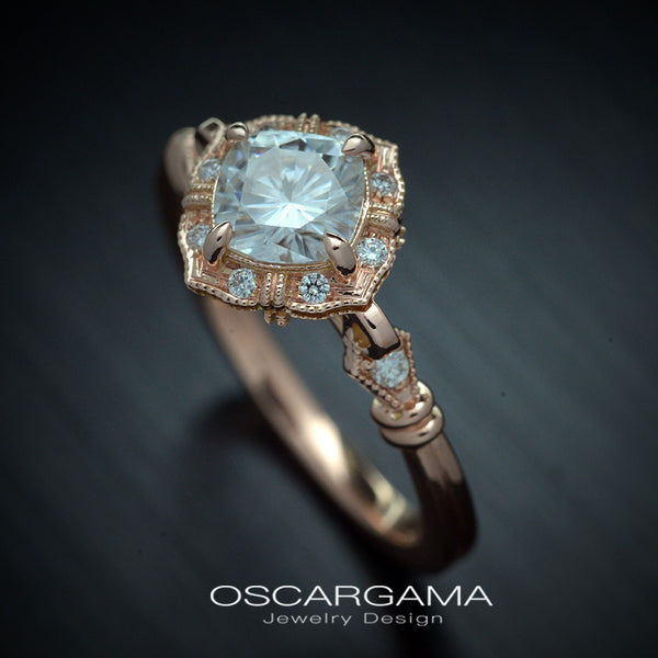vintage cushion halo engagement ring in rose gold