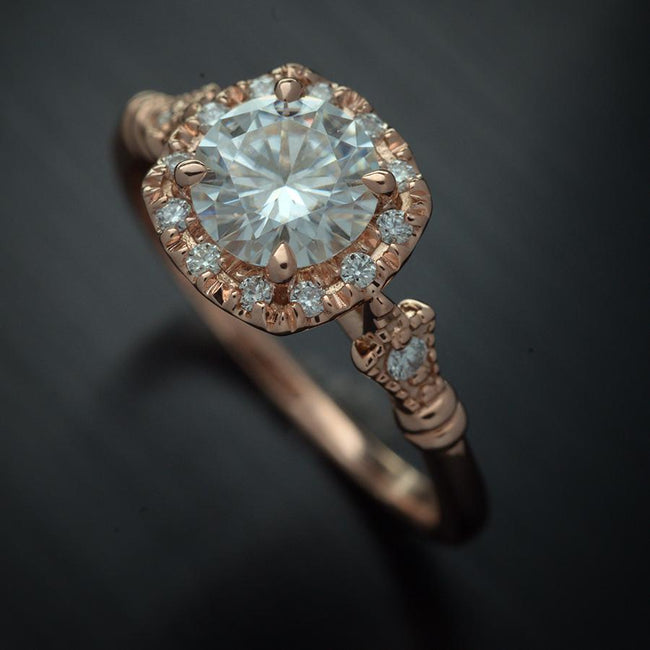 rose gold cushion halo engagement ring vintage style