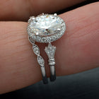 white gold oval halo engagement ring vintage style