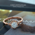 rose gold round halo flower engagement ring vintage style
