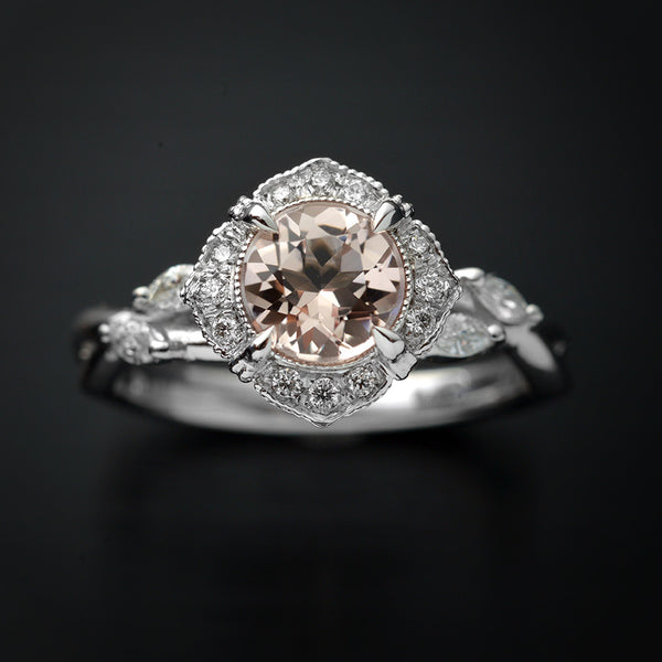 white gold pink morganite halo engagement ring twisted band