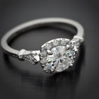 Jazzlyn Cushion Halo engagement ring vintage inspired