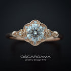Daisy Round Halo Engagement Ring Vintage Inspired in rose gold