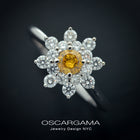 Fancy Intense Orange Yellow Cluster Ring