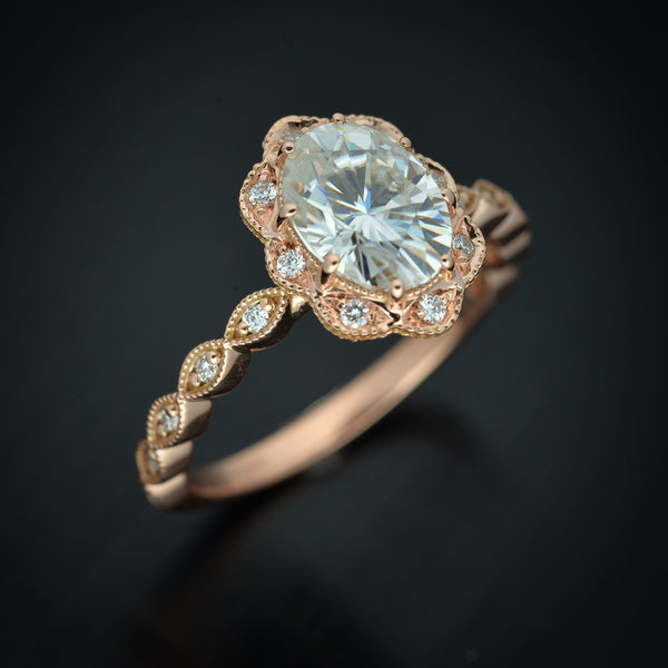 Daisy Novel Oval Halo Engagement Ring Vintage Inspired
