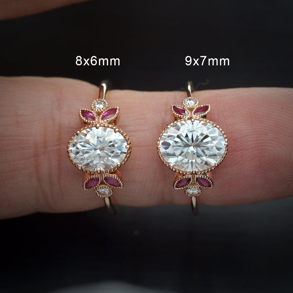 Classic Oval Moissanite with Rubies marquises
