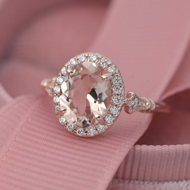 Natural Pink Morganite engagement ring