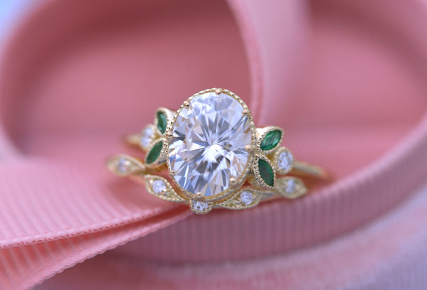 Jenn Oval Moissanite engagement ring with Rubies Emeralds or sapphires accents Vintage Inspired