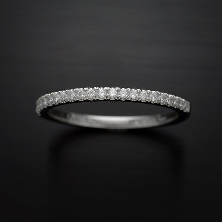 pave diamond wedding band with lab grown diamond half wain in white gold