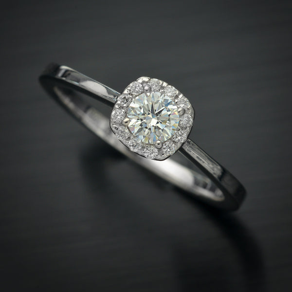 Cushion Halo Solitaire Lab Grown Diamond engagement ring