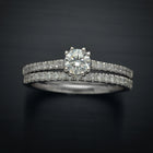 Classic Solitaire Engagement Ring with Pave Lab Grown Diamonds
