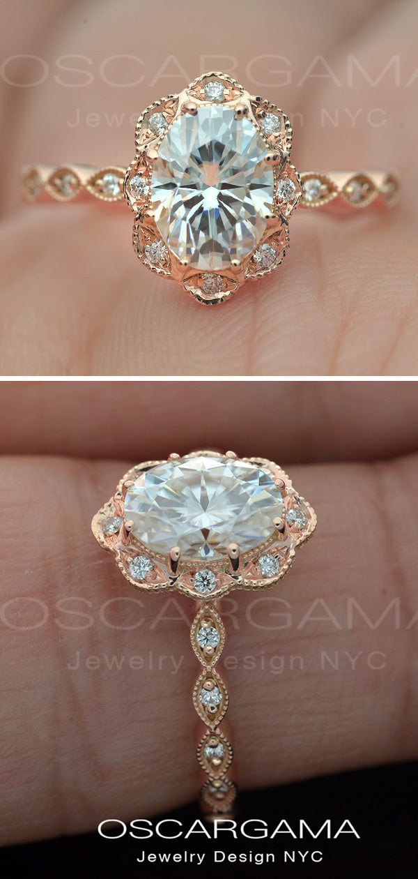 rose gold oval halo engagement ring vintage style