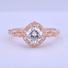 Haydee Cushion Inverted Halo Engagement Ring Vintage Inspired