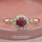Red Garnet Haydee Sunny Round Halo Engagement Ring Vintage Inspired in rose gold