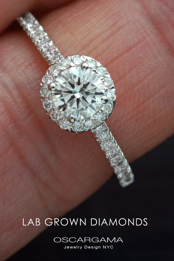 Round Halo with Pave Lab Grown Diamond