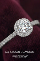Classic Round Halo Solitaire Engagement Ring with  pave Lab Grown Diamonds