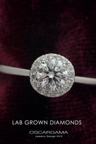 Classic Round Halo Solitaire Engagement Ring with Lab Grown Diamonds