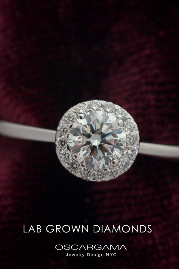 Round Halo Solitaire Lab Grown Diamond engagement ring