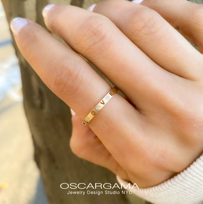 Valentines Special Gold Band LOVE or XOXO in 14k Rose gold satin finish.
