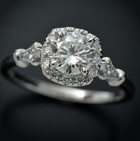 white gold cushion halo engagement ring vintage style