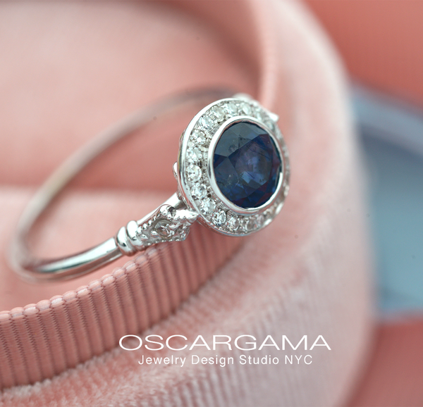Jessica Round Bezel Blue Sapphire Halo Engagement Ring Vintage Look