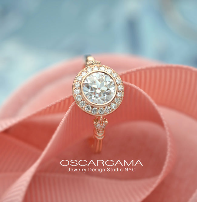 round bezel halo vintage look engagement ring in rose gold