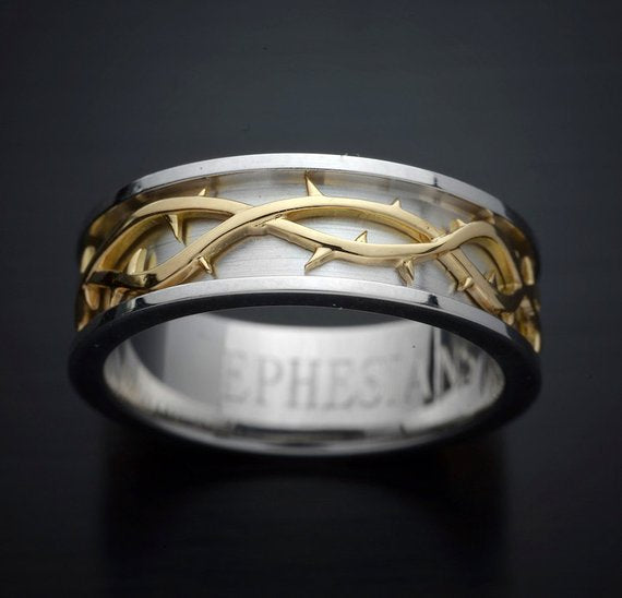 Men Wedding Band Crown of Thorns