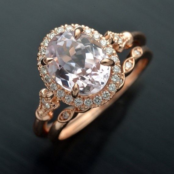 Oval pink Morganite engagement ring halo in rose gold vintage inspired