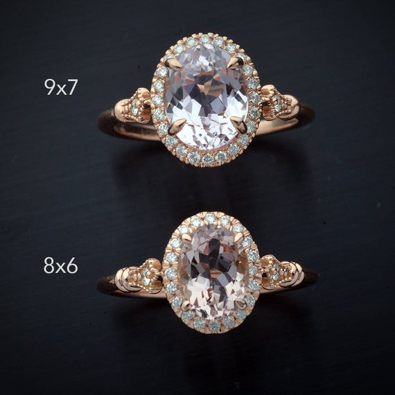 Oval pink Morganite engagement ring halo in rose gold two rings