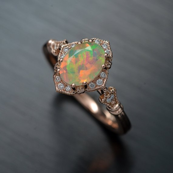Haydee Fire Opal Halo Engagement Ring Vintage Style