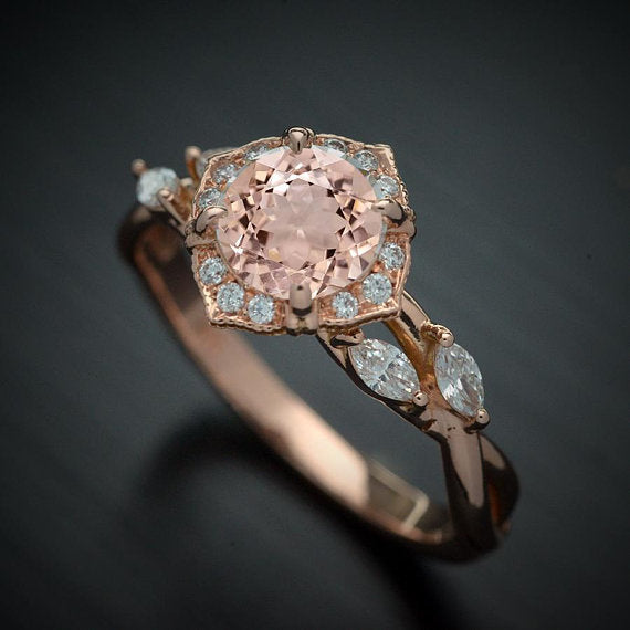 Haydee Vine Blue Sapphire / Aqua Marine / Pink Morganite Halo Engagement Ring with Marquise Diamonds