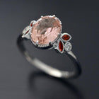 Jenn Oval Aquamarine or Morganite engagement ring with sapphires or rubies marquises