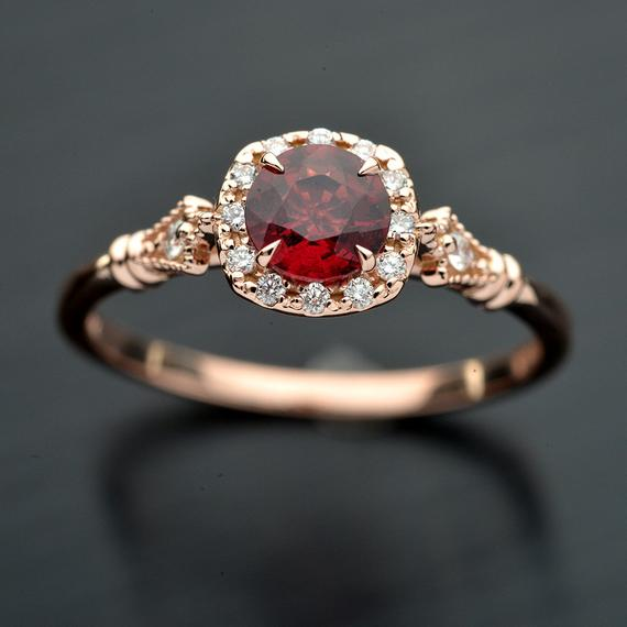 Jazzlyn Red Garnet Cushion style Halo engagement ring vintage Inspired