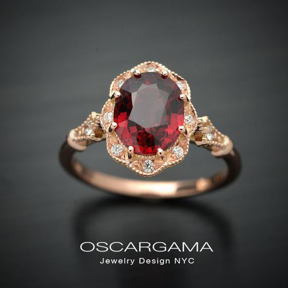 red garnet oval halo rose gold engagement ring