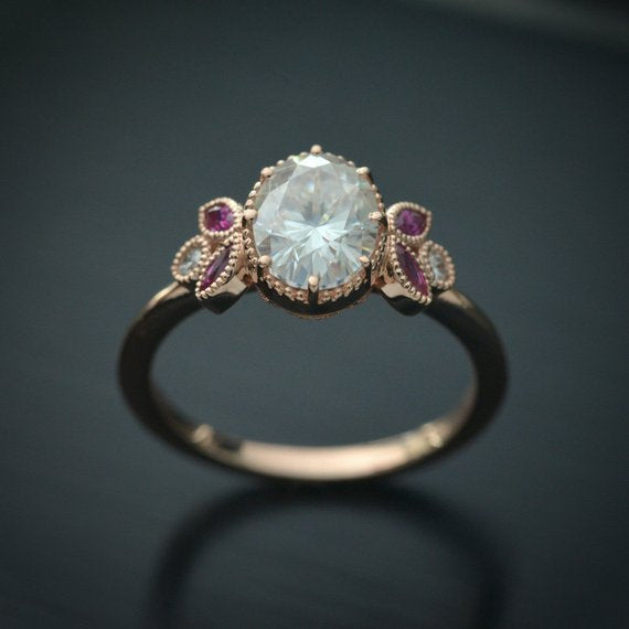 Jenn Oval Moissanite engagement ring with Rubies accents Vintage Inspired