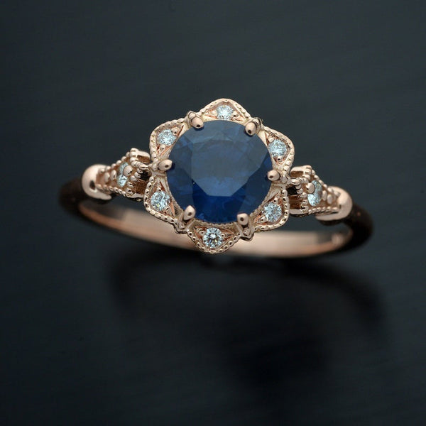 Round Flower Oval Sapphire Vintage Style
