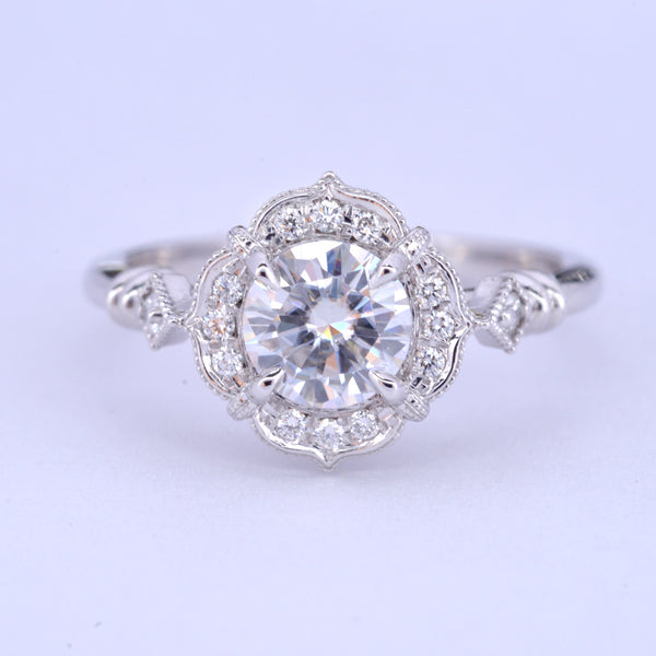 Haydee Lizzy Round Halo Engagement ring Vintage Inspired