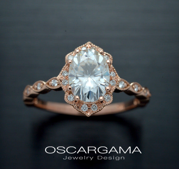 oval halo vintage look rose gold
