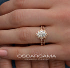 oval halo vintage look rose gold in a hand