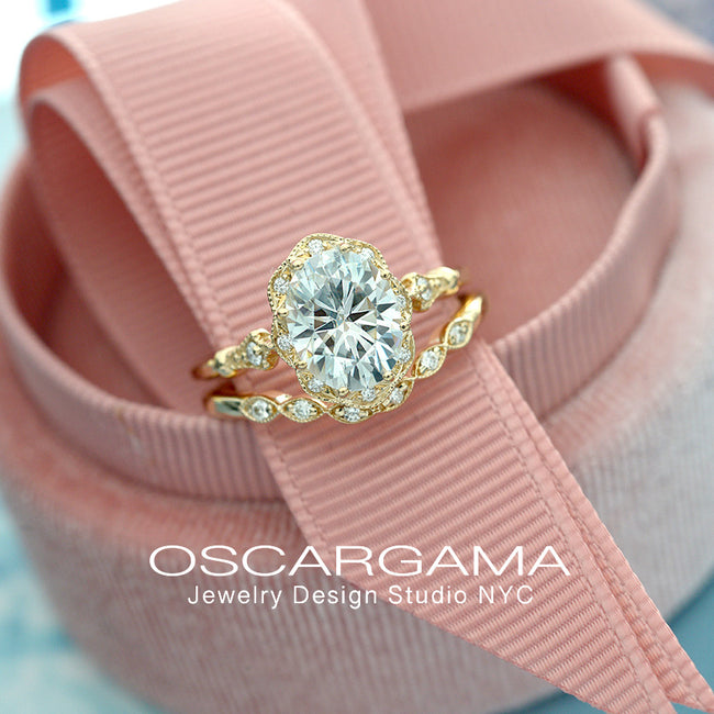 yellow gold oval halo engagement ring vintage in pink box