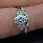 Oval Engagement Ring Vintage Inspired with marquises and wedding band