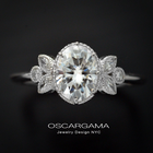 Oval vintage inspired engagement ring with marquises on the sides