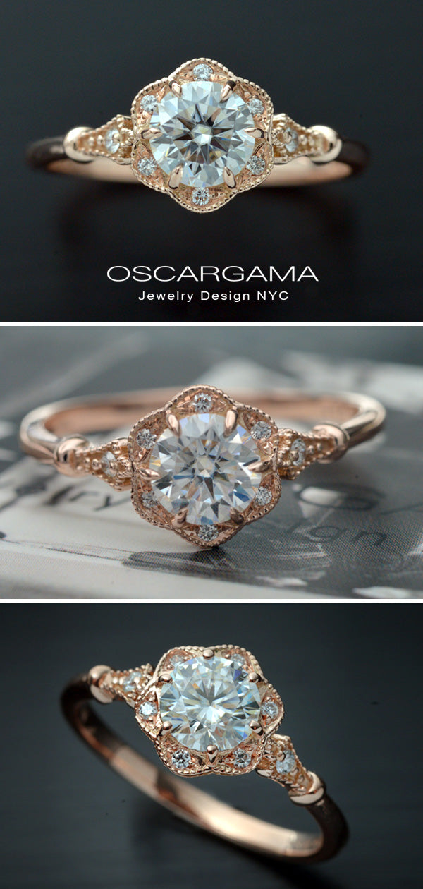 3 images of rose gold round halo flower engagement ring vintage style